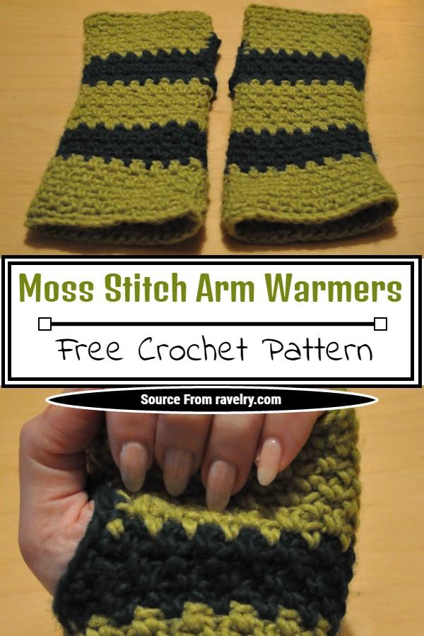 Crochet Moss Stitch Arm Warmers Pattern