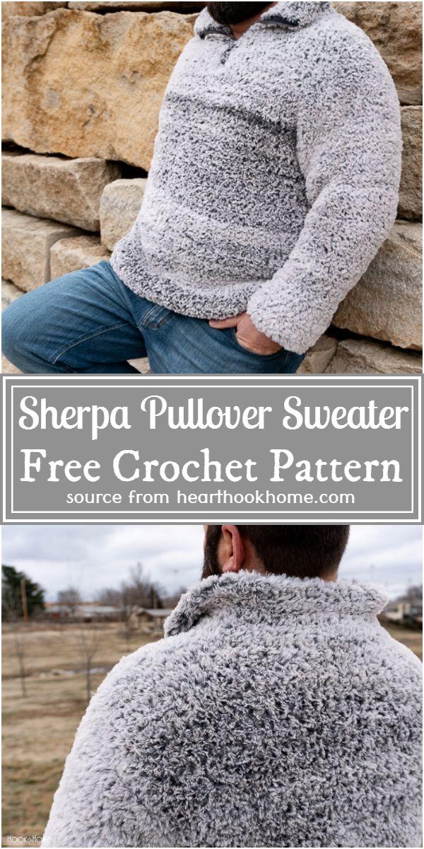 Crochet Quarter Zip Sherpa Pullover Sweater Pattern For Men