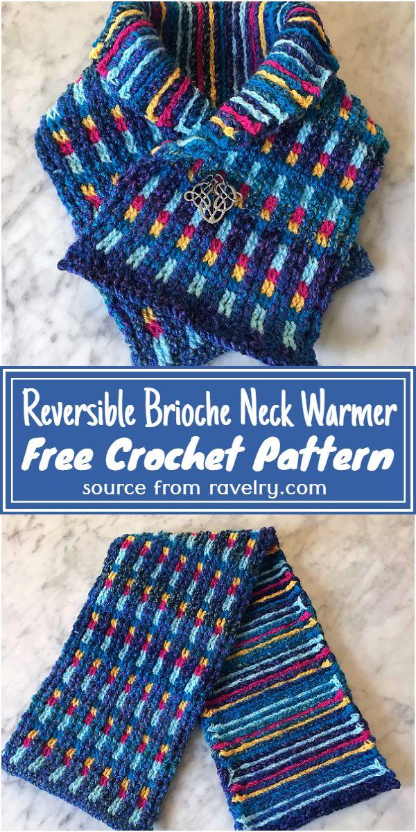 Crochet Reversible Brioche Neck Warmer Free Pattern