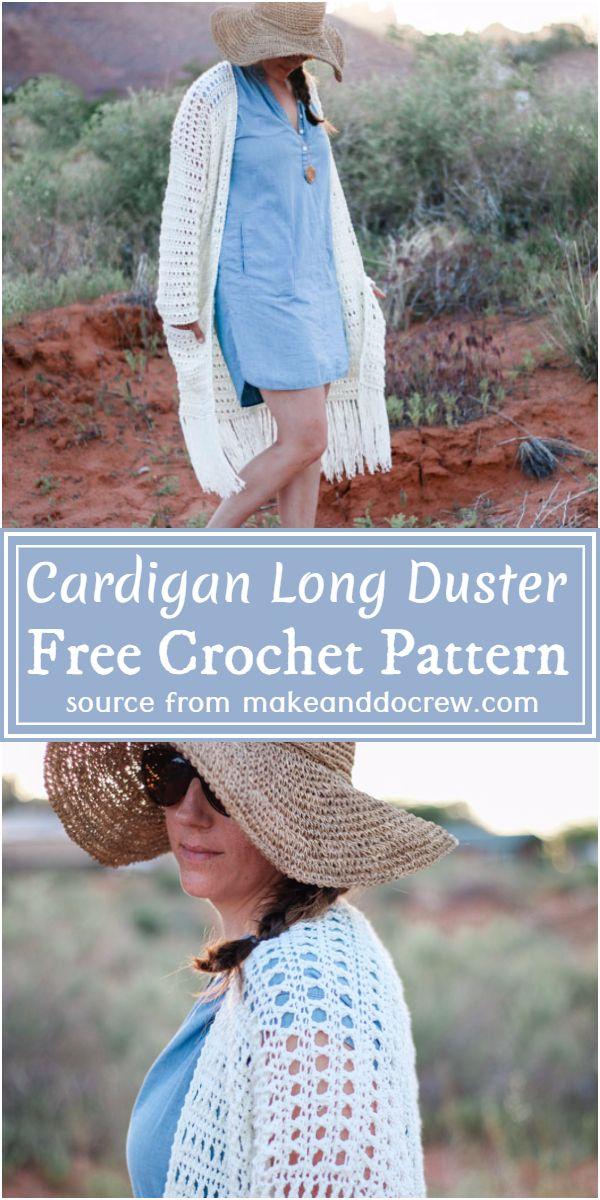 Easy Cardigan Free Crochet Long Duster Pattern