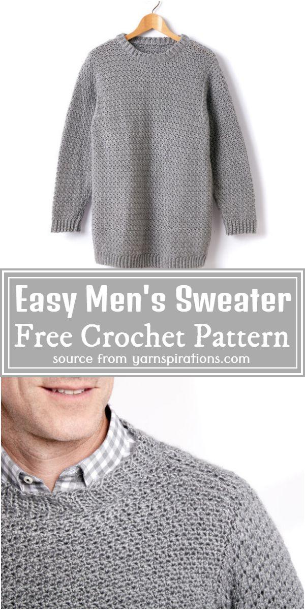 Easy Men's Sweater Crochet Pattern For Adult