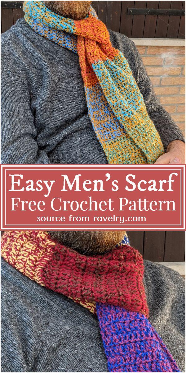 Easy To Make Crochet Men's Scarf Free Pattern