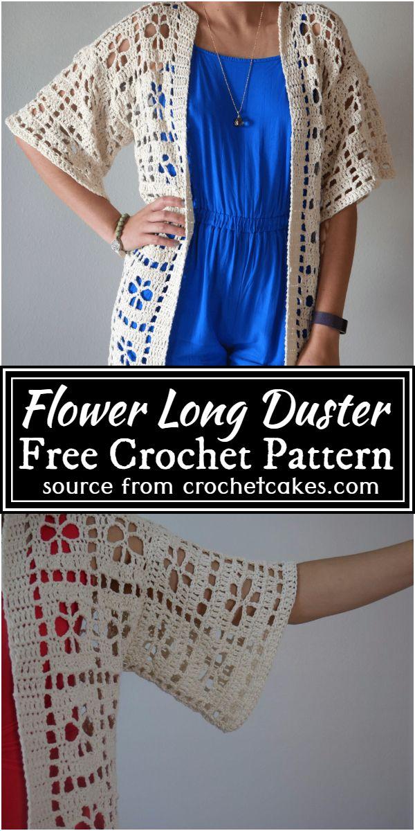 Flower Free Crochet Long Duster Pattern