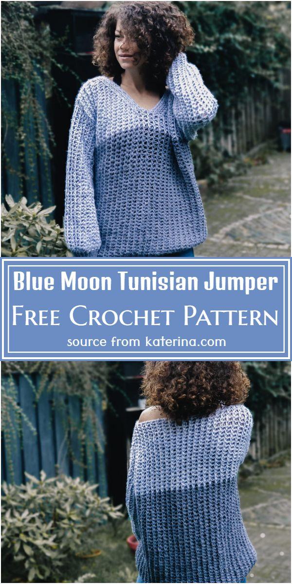 Free Crochet Blue Moon Tunisian Jumper Pattern