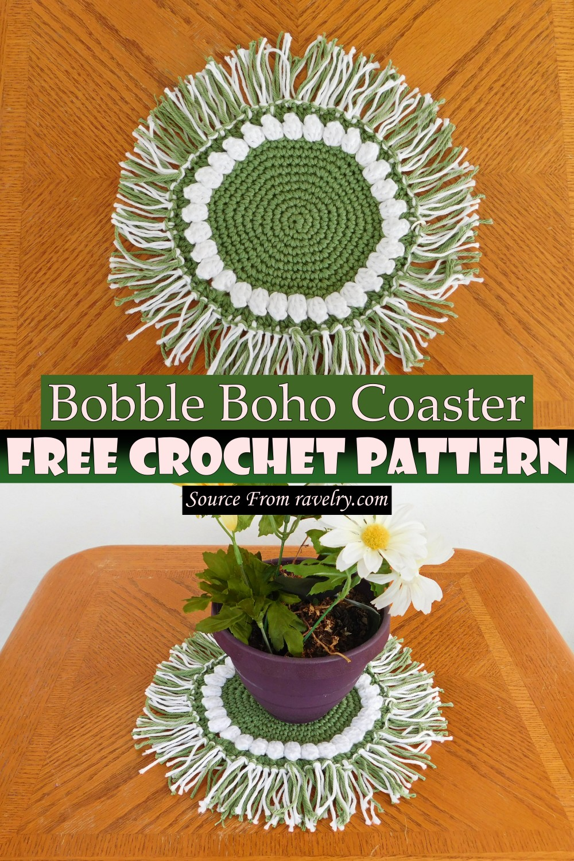 Free Crochet Bobble Boho Coaster Pattern