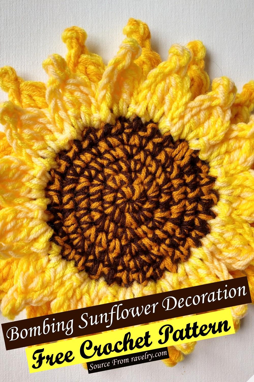 Free Crochet Bombing Sunflower Decoration Pattern
