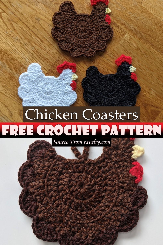 Free Crochet Chicken Coasters Pattern