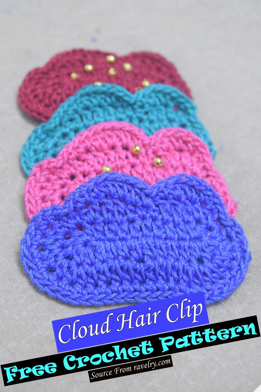 Free Crochet Cloud Hair Clip Pattern