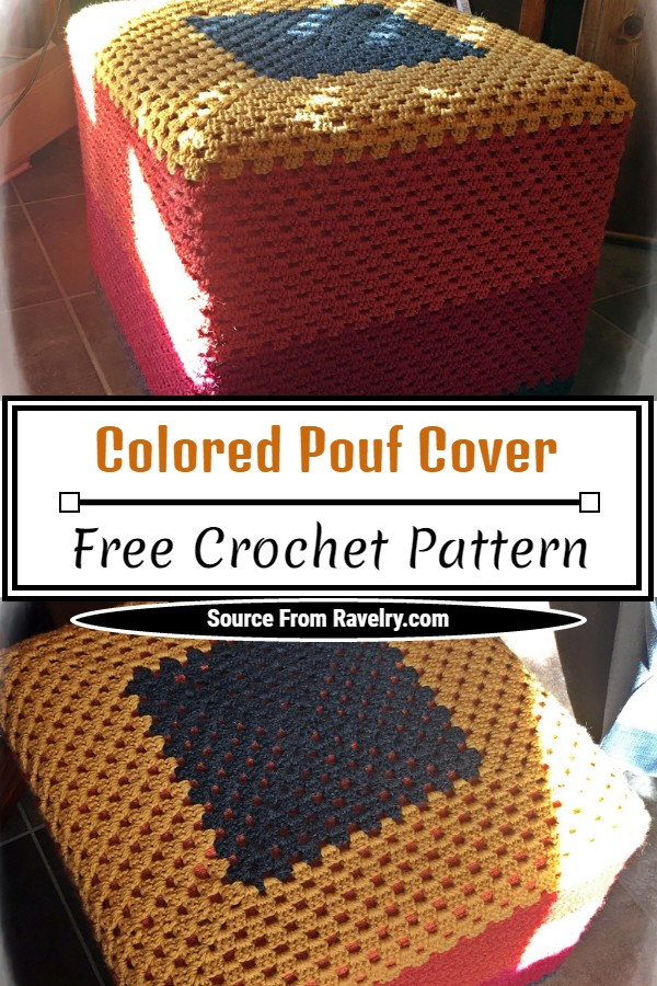 Free Crochet Colored Pouf Cover Pattern