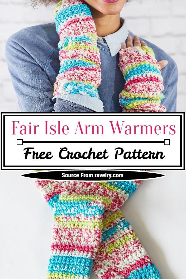 Free Crochet Fair Isle Arm Warmers Pattern