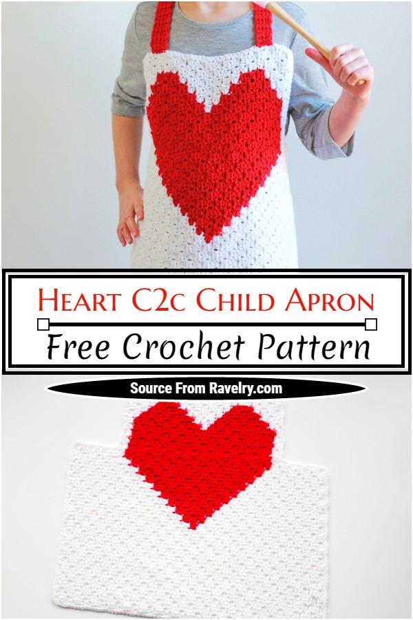 Free Crochet Heart C2c Child Apron Pattern