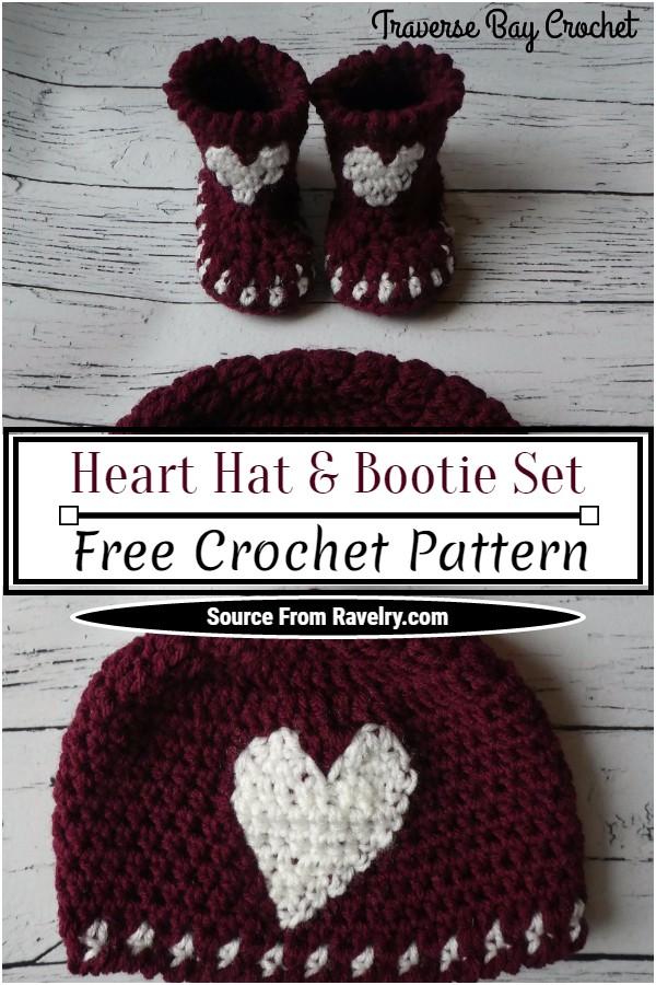 Free Crochet Heart Hat & Bootie Set Pattern