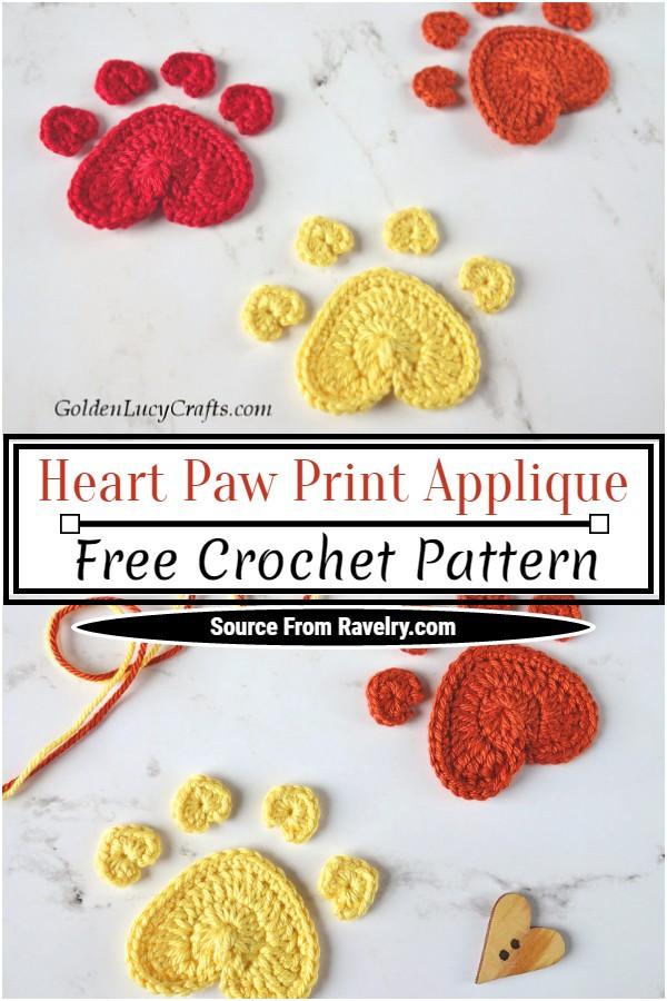 Free Crochet Heart Paw Print Applique Pattern