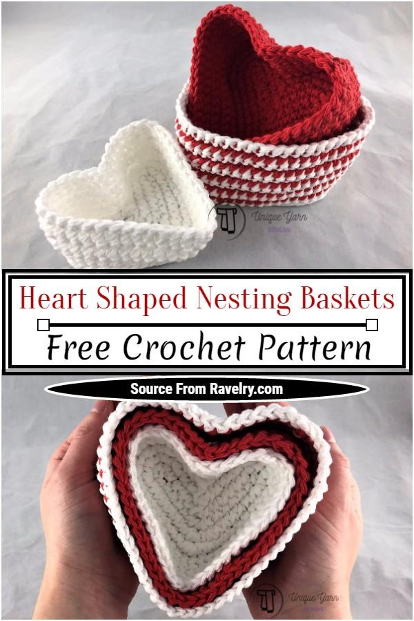 Free Crochet Heart Shaped Nesting Baskets Pattern