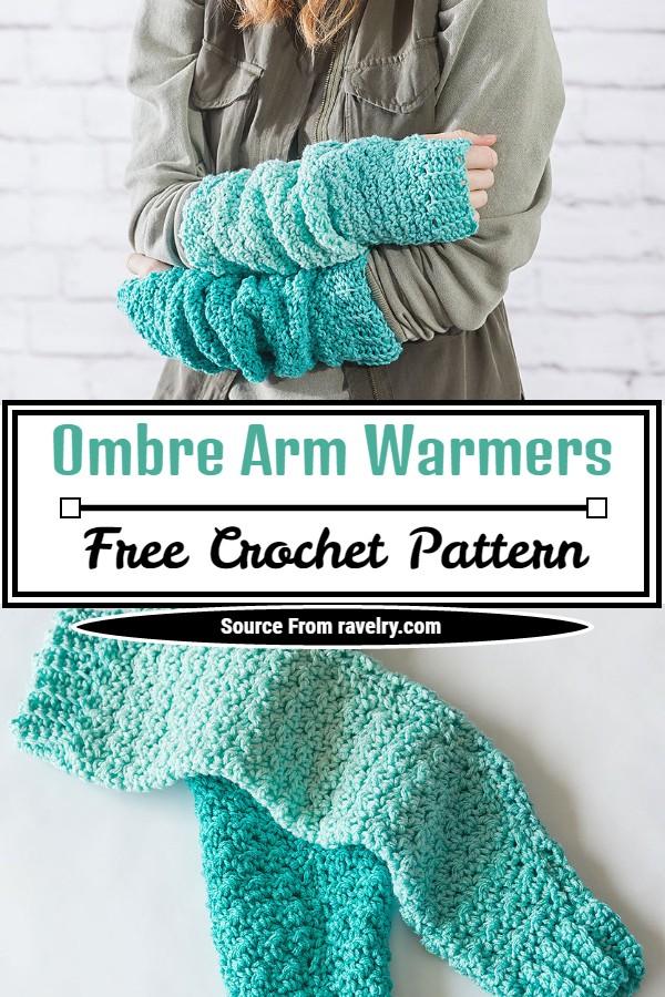 Free Crochet Ombre Arm Warmers Pattern
