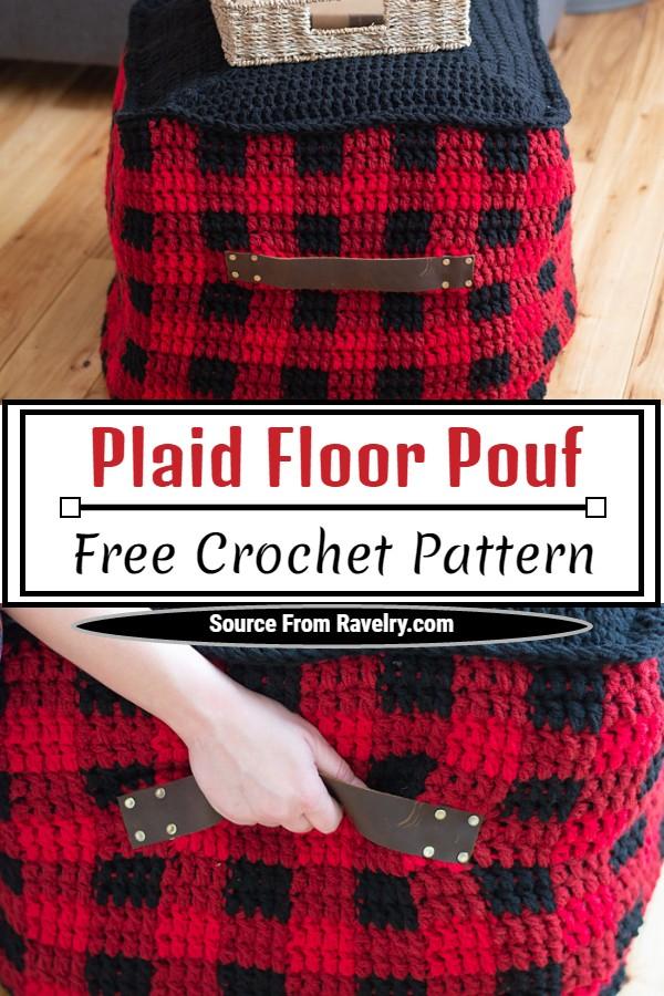Free Crochet Plaid Floor Pouf Pattern