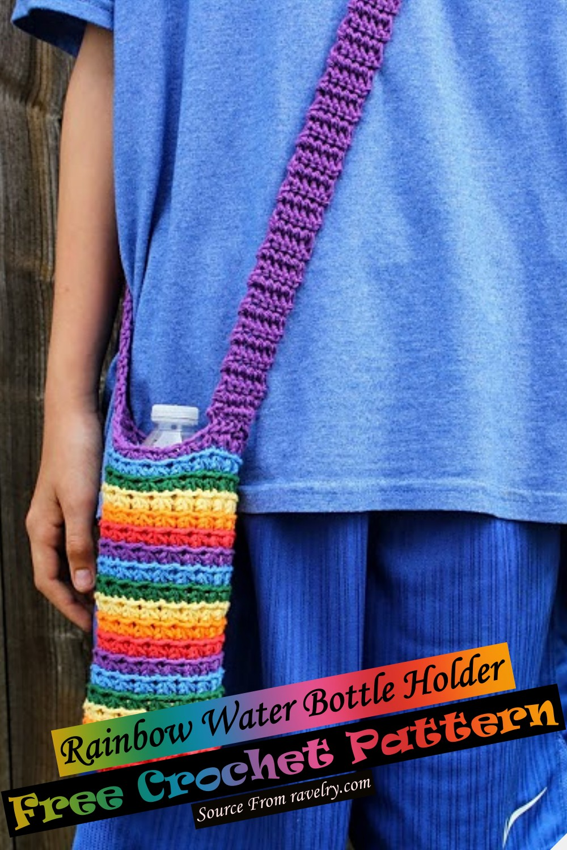 Free Crochet Rainbow Water Bottle Holder Pattern