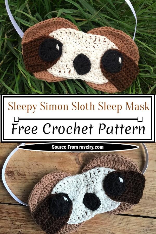 Free Crochet Sleepy Simon Sloth Sleep Mask Pattern