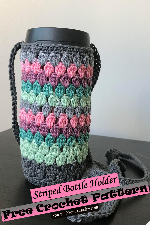 Free Crochet Striped Bottle Holder Pattern
