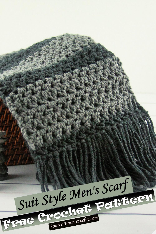 Free Crochet Suit Style Men's Scarf Pattern