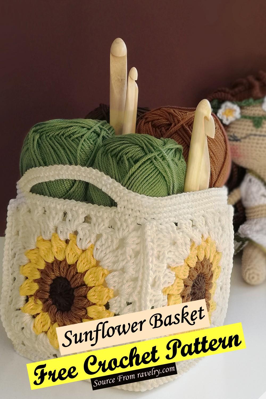 Free Crochet Sunflower Basket Pattern