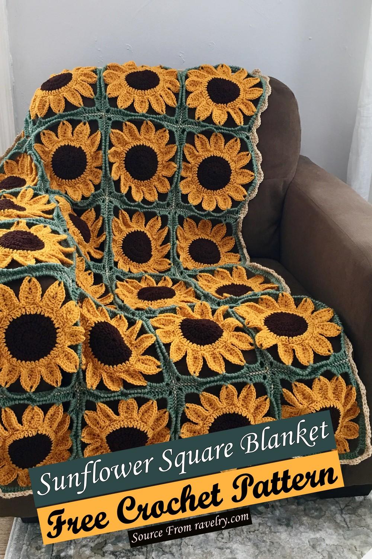 Free Crochet Sunflower Square Blanket Pattern
