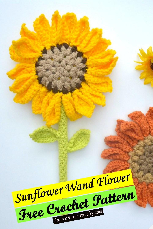 Free Crochet Sunflower Wand Flower Pattern