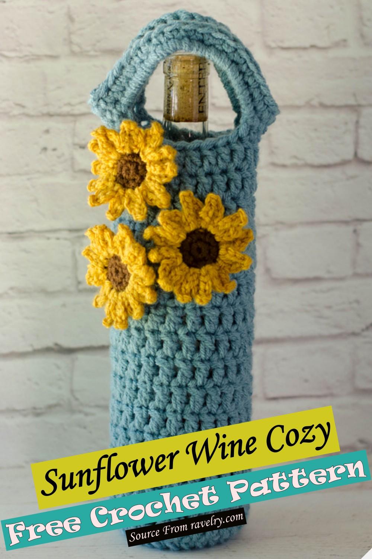 Free Crochet Sunflower Wine Cozy Pattern