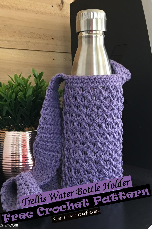 Free Crochet Trellis Water Bottle Holder Pattern