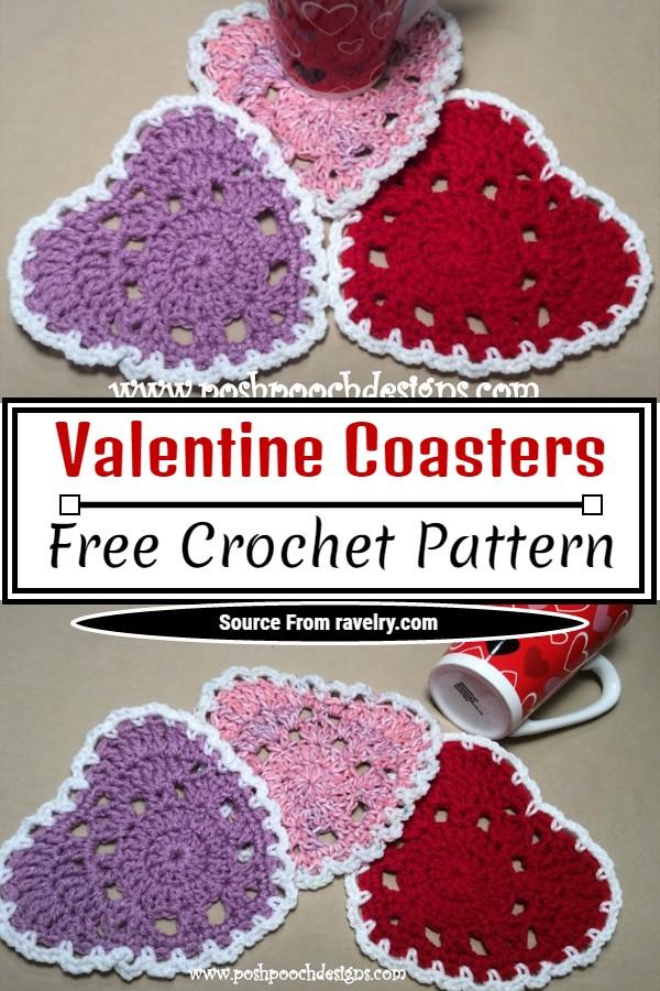 Free Crochet Valentine Coasters Pattern