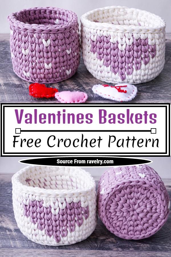 Free Crochet Valentines Baskets Pattern
