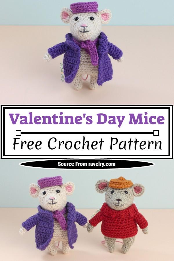 Free Crochet Valentine's Day Mice Pattern