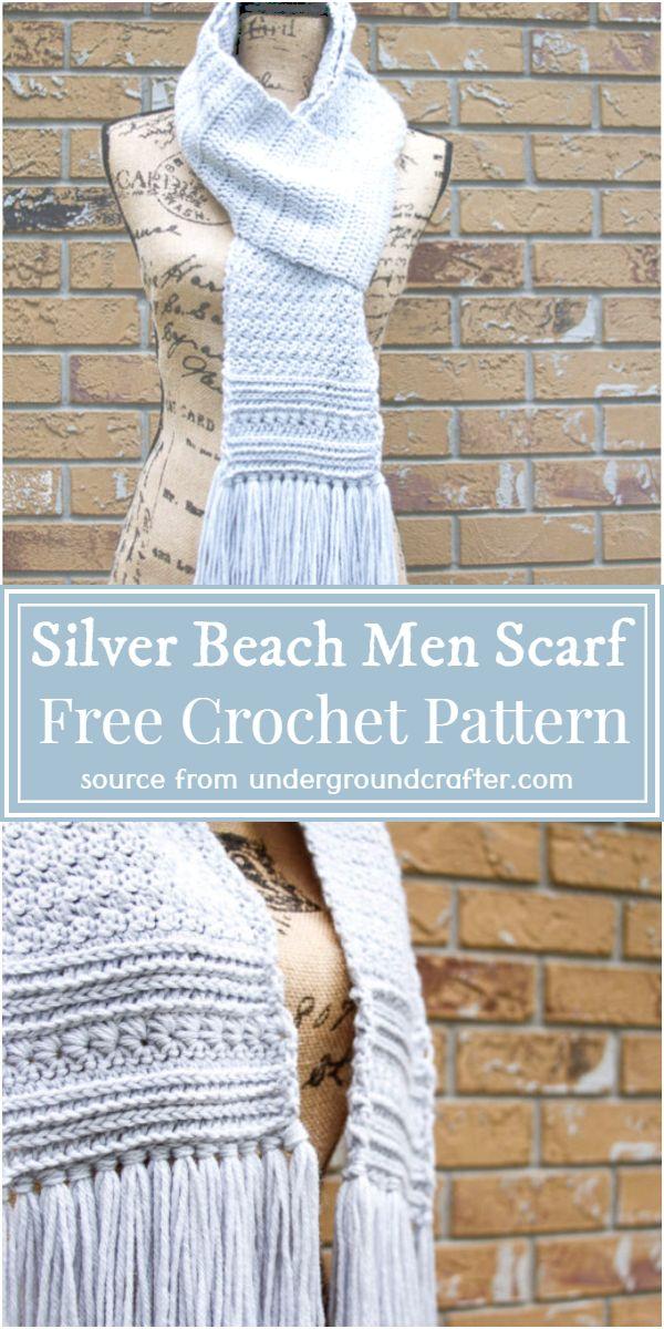 Free Silver Beach Men Crochet Scarf Pattern