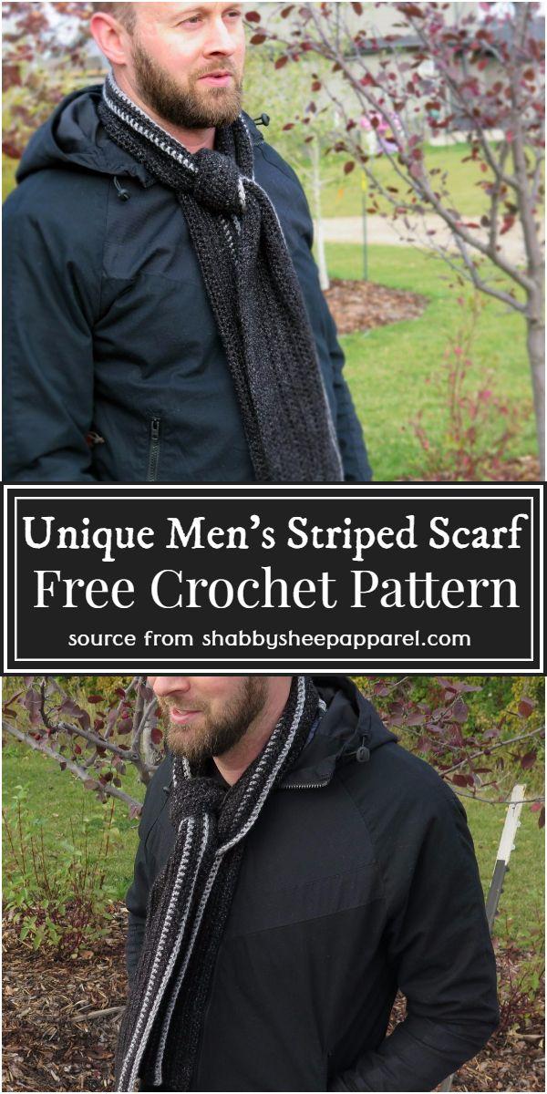 Free Unique Men's Striped Crochet Scarf Pattern