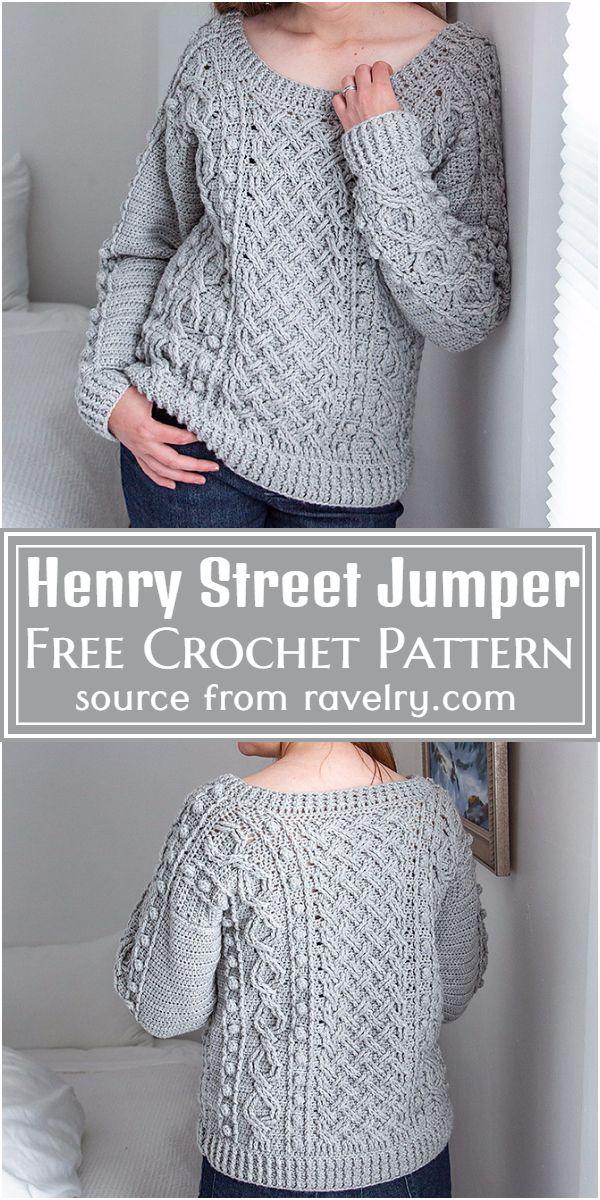 Henry Street Crochet Jumper Sweater Pattern