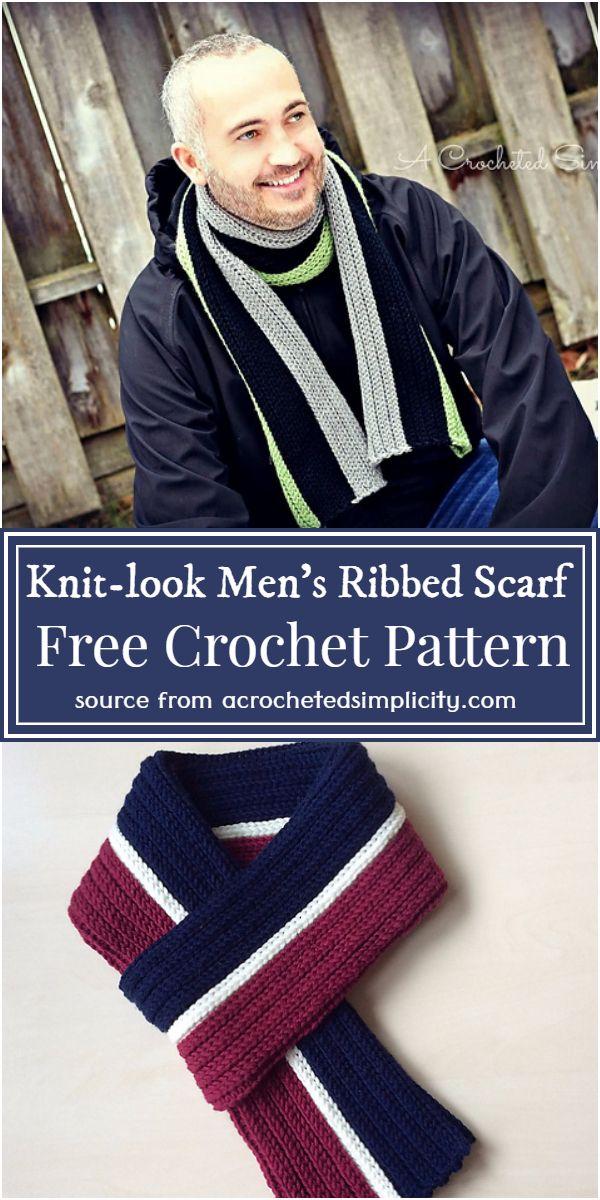 Knit-look Men's Ribbed Scarf Crochet Pattern