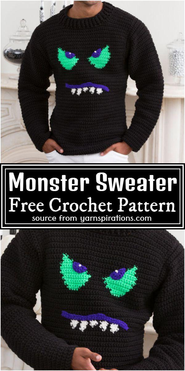 Monster Face Crochet Sweater Pattern