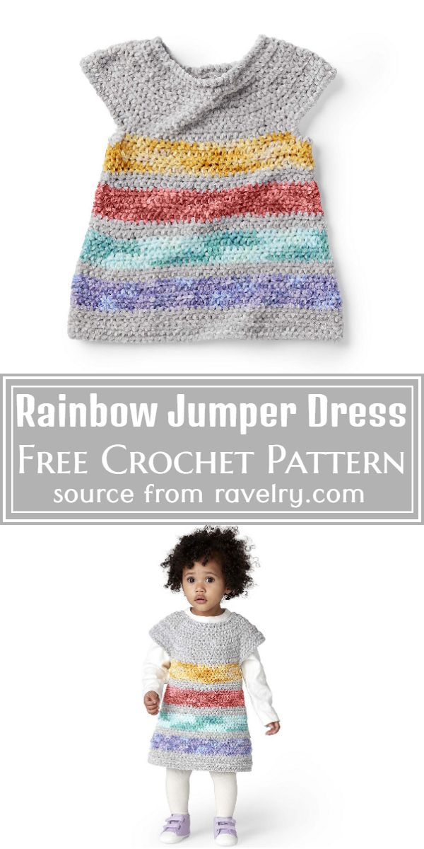 Rainbow Crochet Jumper Dress Free Pattern
