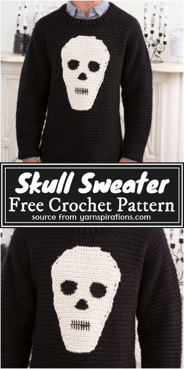 Red Heart Free Crochet Skull Sweater Pattern