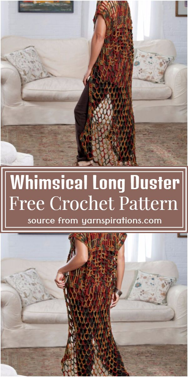 Whimsical Free Crochet Long Duster Pattern