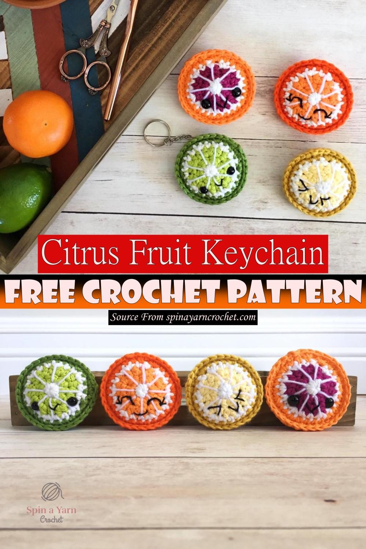 Free Crochet Citrus Fruit Keychain Pattern