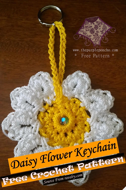 Free Crochet Daisy Flower Keychain Pattern