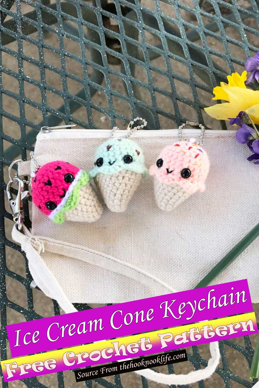 Free Crochet Ice Cream Cone Keychain Pattern