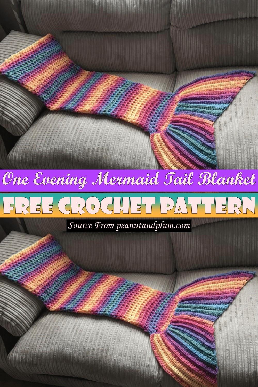 Crochet One Evening Mermaid Tail Blanket Pattern