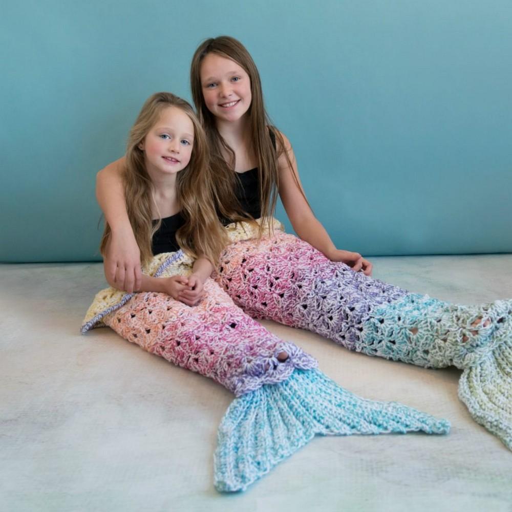 Crochet Rainbow Sparkle Mermaid Blanket Pattern