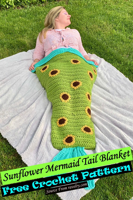 Crochet Sunflower Mermaid Tail Blanket Pattern