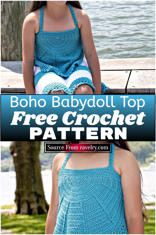 Free Crochet Boho Babydoll Top Pattern