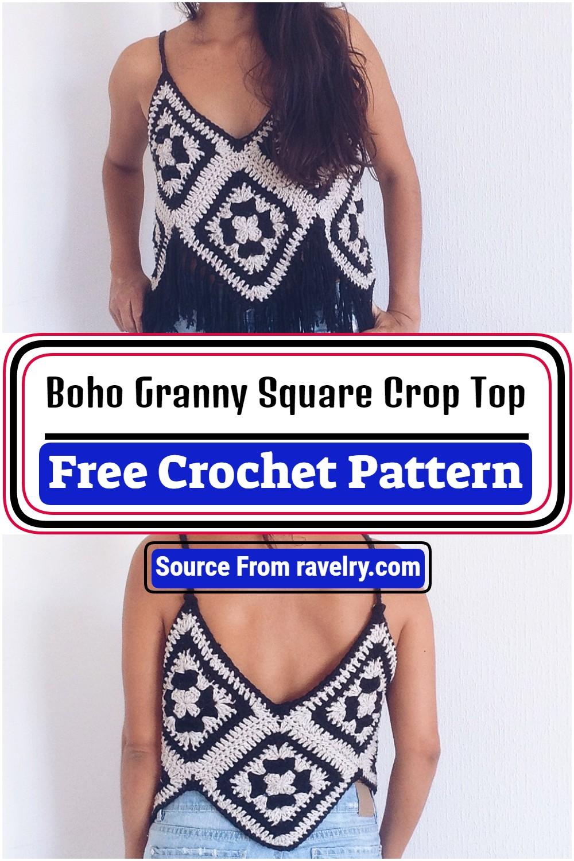 Free Crochet Boho Granny Square Crop Top Pattern