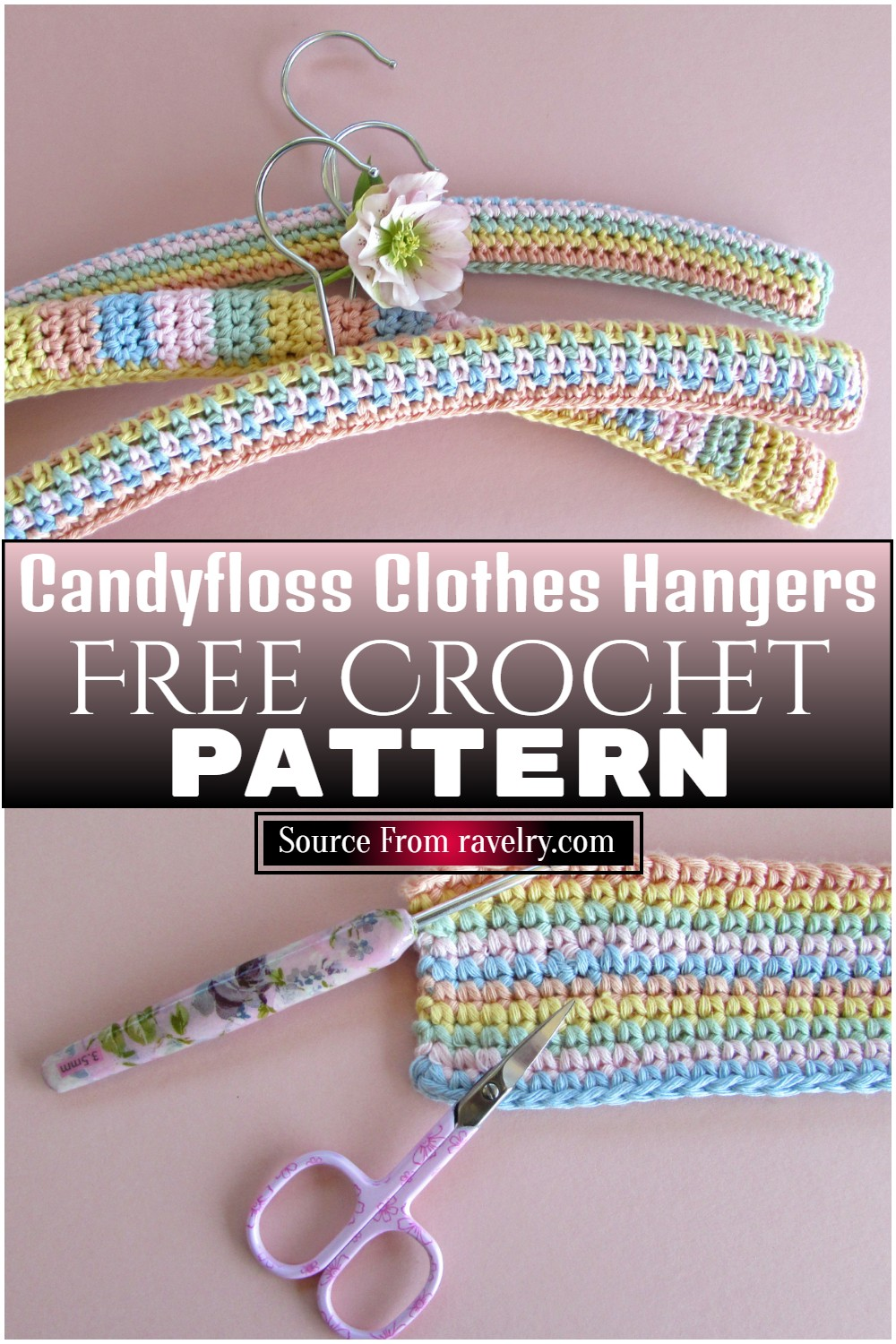 Free Crochet Candyfloss Clothes Hangers Pattern