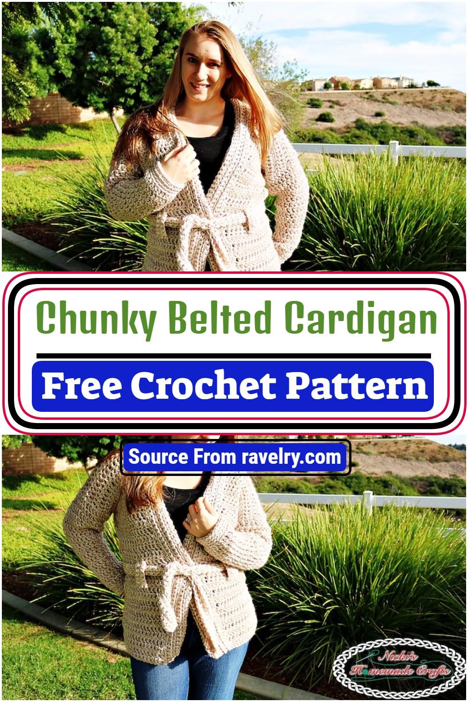 Free Crochet Chunky Belted Cardigan Pattern